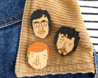 Flight of the Conchords - Hand Painted, Cute, Lapel Pin Badge Set! Handmade, laser cut gift set. Unique and funny gift. Brooch pin badge