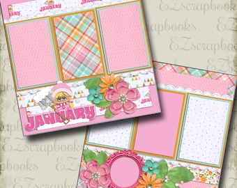 JANUARY - 2 Premade Scrapbook Pages - EZ Layout 356