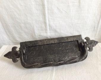 A vintage black cast iron Letter Box/Door Knocker