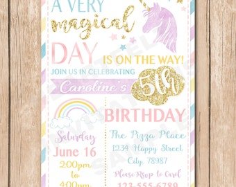 Pastel Unicorn Birthday Invitation | Watercolor, Glitter, Magical Day - 1.00 each printed