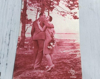 Vintage Postcard, Romantic French Postcard, Sweetheart Card, French Vintage Postcard, Vintage Couple Postcard, Vintage Romance Postcards