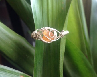 Spessartite Garnet Ring Sterling Silver Ring Wire Wrap Ring