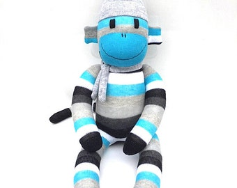 Blake the Sock Monkey - turquoise grey black and white - *READY TO SHIP*