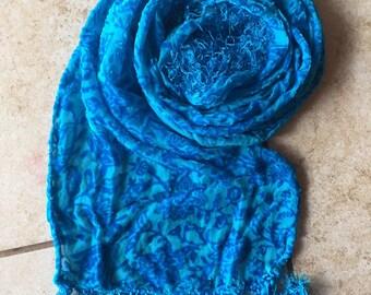 Silk Velvet Scarf Ocean Blue