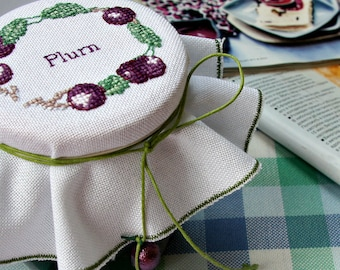 cosy kitchen decoration jam jar lid topper cross stitch plum wreath Mother's Day gift for new home jelly lid cover country kitchen decor