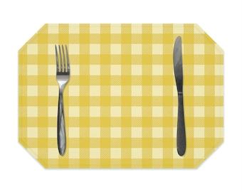Buffalo check placemat, mustard yellow gingham, farmhouse decor