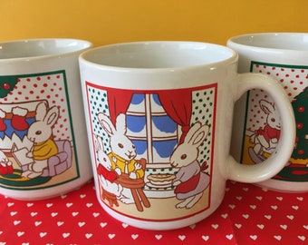 Cute Rabbit Christmas Mugs Set of 3