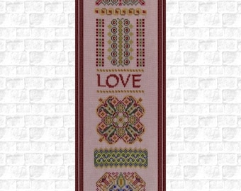A Heart's Desire! Love Cross Stitch Instant Download Pattern. Counted Embroidery Chart Romantic Valentine's Design Mini Mandala Sampler Band