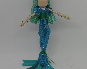New!  Mermaid Bendy Doll by Tracys Garden Fairies - blue sleeves