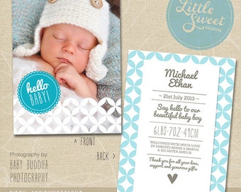 5x7 Birth Announcement Template (Baby Announcement) - Photoshop Template for photographers (BA7B) - INSTANT DOWNLOAD
