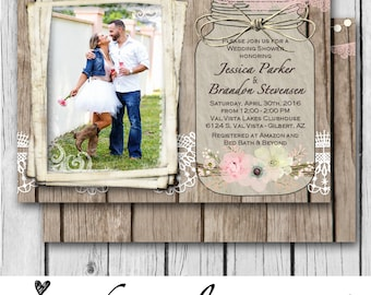 Mason Jar, Couples Shower, Lace, Rustic, Wood, Flowers, Lights - Wedding Invitation / Bridal Shower / Baby / Birthday - Digital and Printed