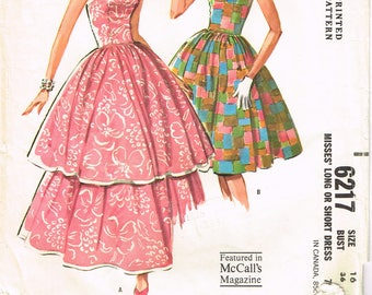 McCall's 6217 Fabric Material Sewing Pattern Long or Short Gown Dress Frock Vintage Women's Fashion Size 16 ~~ 36 Bust