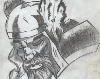 ORIGINAL GRAPHITE ART - Thor Caricature