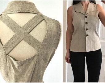 1980s Sleeveless Backless Career Blouse | Vintage Clothing | Sheri Martin | 1980s Clothing | 80s Work Blouse | 1980s Vintage Clothing