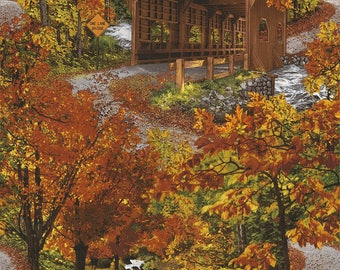 "Covered Bridge scenic Fall woods,water,Timeless Treasures 24"" panel"