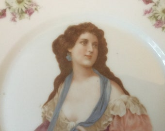 Vintage plate austrian porcelain Plate with Beauty and roses