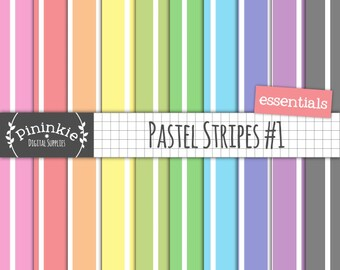 Pastel Striped Digital Paper, Striped Scrapbook Paper, Digital Background, Instant Download