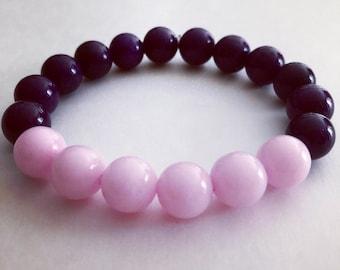 Pink Bracelet, Purple Bracelet, Pink and Purple Mountain Jade Bracelet, Gemstone Bracelet, Handcrafted Beaded Bracelet, Wrist Mala Bracelet
