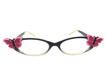 Women's 3.0 Strength Reading Glasses with Hand-Applied Pink Butterfly Embellishments and a Flower Detail