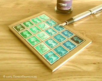 Upcycled Notebook, Aqua Green Turquoise Stamps   Recycled Pocket Journal, A6 ruled kraft   British Stamps Philately Gift, GB Stamp Collector