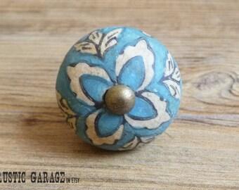 "1.5"" Antique Aqua Blue and Cream Ceramic Knob - Floral Drawer Pull - Shabby Chic Rustic Home Decor"