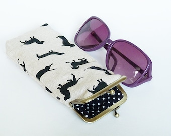 Glasses case, sausage dog fabric, black and beige cotton dachshund design, cotton case