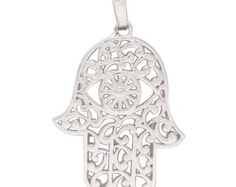 Hamsa with Evil eye Sterling Silver Pendant