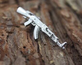 silver gun tie clip AK 47 tie clip man gift