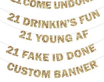 21st Birthday Banner - 21st Birthday Banner, Photo Prop, 21 Fake ID Done, RIP fake 21st Birthday