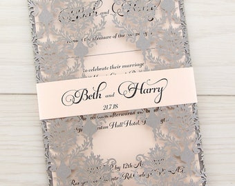 SAMPLE * Rosa Laser Cut Wedding Invitations, Belly Band, Coral and Grey