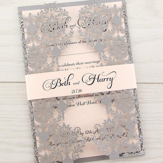 SAMPLE Rosa Laser Cut Wedding Invitations Belly Band Coral