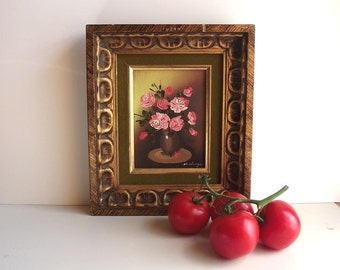 Vintage Rose Painting Framed Signed Petite Painting