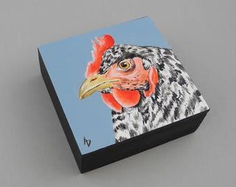 Hen painting - original art - realistic chicken art - black and white chicken decor - barnyard hen painting - chicken gift painting