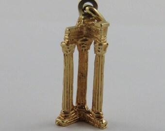 Roman Forum Ruins Columns 18K Gold Vintage Charm For Bracelet