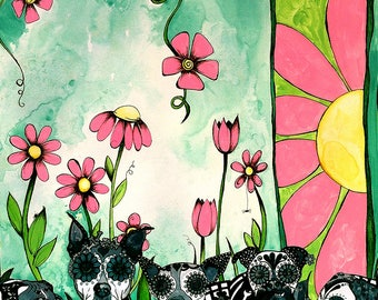 creepy cute dog art mixed media collage giclee print of pink flowers trending now prints boho floral wall art sugar skull dogs pit bull