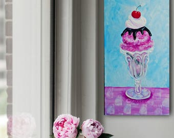 Ice Cream Sundae, dessert painting, kitchen wall art, FREE SHIP colorful fun kitchen wall art, ice cream print, dining room decor