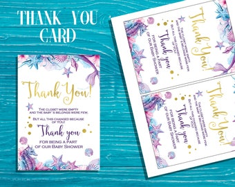 Mermaid Baby Shower thank you cards Under the sea baby shower thank you cards Mermaid Printable Thank You Cards  Thank You Card