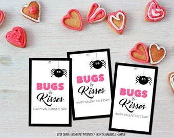 Bugs and Kisses VALENTINE Cards / Tags (Instant Download)