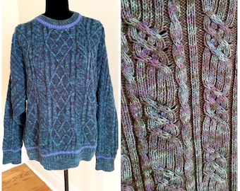 cable knit sweater purple sweater chunky sweater cableknit sweater vintage blue sweater oversized sweater variegated sweater pullover large