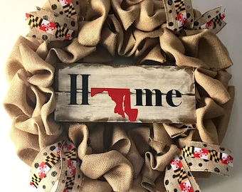 Maryland or Any Home State Burlap Wreath Custom