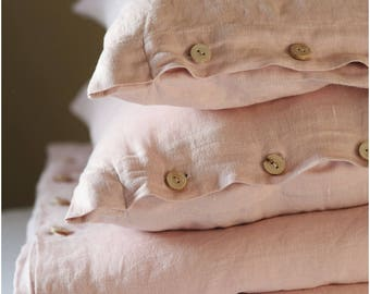 Linen duvet cover - blush pink - linen beding - softened linen - king duvet cover - stonewashed - washed linen bedding