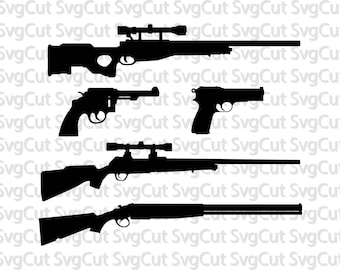 Guns SVG pack, Guns clipart vector, Digital download guns, Guns cut file, Guns silhouette cricut designs