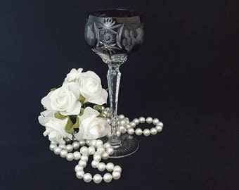 Crystal Goblet Wine Glass with Black Bowl and Cut Crystal Design, Black Onyx Cut to Clear, made by Ajka ~ Vintage 1960's