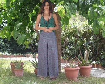 100% silk turquoise trousers/INDIA