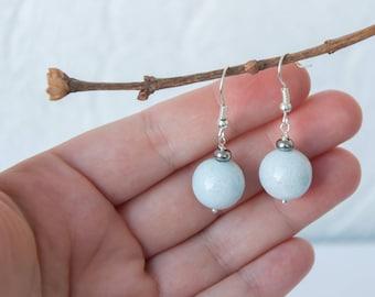 Light blue bridal earrings, Light blue earrings, Pale blue earrings, Light blue drop earrings, 14mm earrings, 14mm ball earrings, 8-18 mm