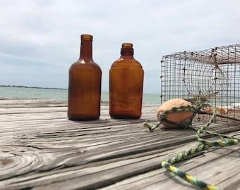 Vintage Brown Bottles.TwoBrown Glass,Amber,Vase,Repurpose,Collect.
