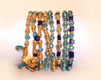 Bracelet femme, Beaded bracelet, Bohemian jewelry, Blue, Boho bracelet, Gift for her, Gift for women, Boho jewelry, Handmade jewelry