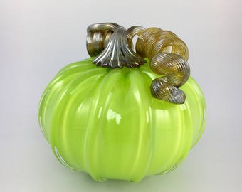 """4"""" Glass Pumpkin by Jonathan Winfisky - Opaque Spring Green - Hand Blown Glass"""