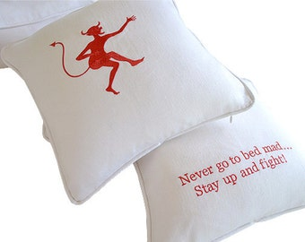 embroidery pillow white linen funny little devil red white wedding shower anniversary birthday adult