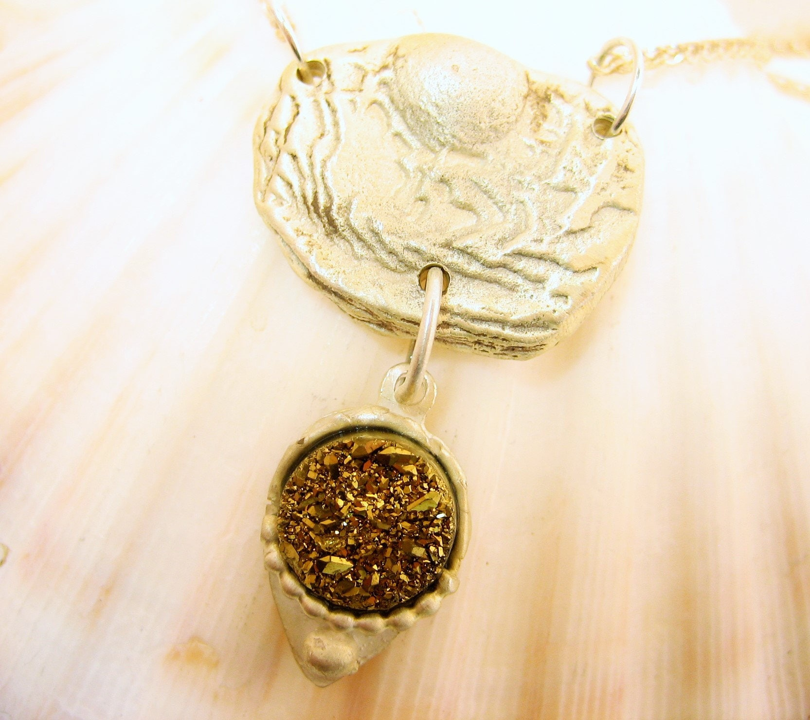 Golden druzy quartz pendant, unique sea coin silver pendant, silver and gold pendant, two toned necklace, silver and gold artisan necklace